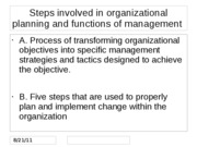 Steps involved in organizational planning and functions of