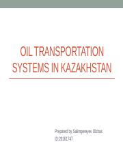 Oil transportation systems in Kazakhstan