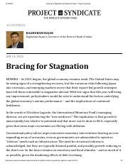 Bracing for Stagnation by Raghuram Rajan - Project Syndicate.pdf