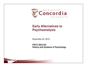 Class 22-Early alternatives to psychoanalysis