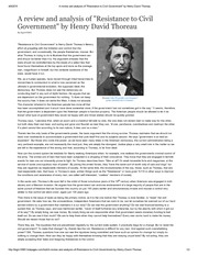 A review and analysis of _Resistance to Civil Government_ by Henry David Thoreau
