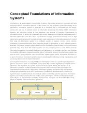 Conceptual Foundations of Information Systems