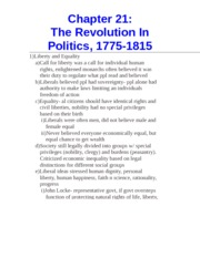 Chapter 21- The Revolution In Politics, 1775-1815