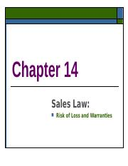 Ch. 14 Sales Law.ppt