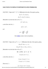 Solutions to Implicit Differentiation Problems