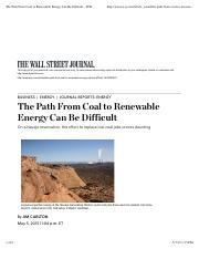 The Path From Coal to Renewable Energy Can Be Difficult - WSJ