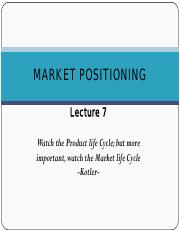 lecture 7 Market Positioning