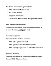 The Role of Financial Management Notes