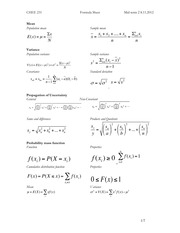 CHEE 231 Test 2 Formula sheets
