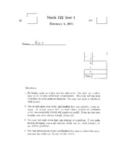Math 122 Test 1 Spring 2011 Answers