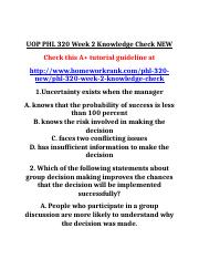 UOP PHL 320 Week 2 Knowledge Check NEW