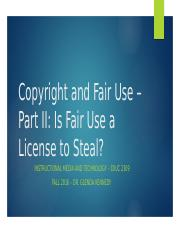Group Copyright and Fair Use Powerpoint