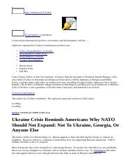 Ukraine Crisis Reminds Americans Why NATO Should Not Expand_ Not To Ukraine, Georgia, Or Anyone Else