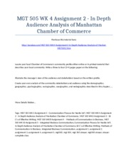 MGT 505 Week 4 Assignment 2 - In Depth Audience Analysis of Manhattan Chamber of Commerce - Strayer