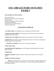 Lecture Outlines Exam #1