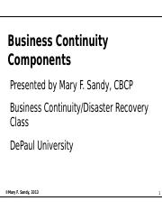 Business Continuity Components