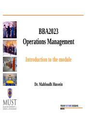 Topic 1 -BBA2023 Operations Management