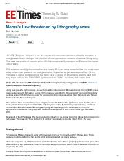 EE Times - Moore_s Law threatened by lithography woes.pdf