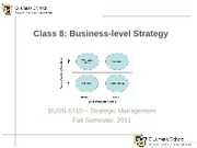 Class 8 - Business-level Strategy