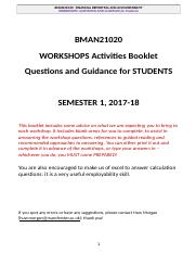 [Workshops Sem 1 Q AND GUIDANCE for STUDENTS BMAN 21020] 2017-18 (2).docx