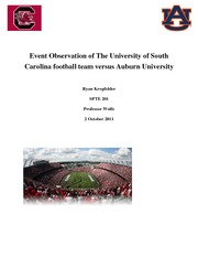 Event Observation of The University of South Carolina football team versus Auburn University