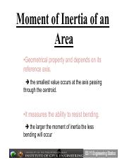 Lecture 10 - Second Moment of an Area (Area Moment of Inertia)