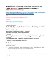 Test Bank For Community Oral Health Practice for the Dental Hygienist 3r Edition by Geurink Test Ban