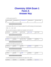 Exam 1 Form A Key fall 07CHEM103A Dr. Keller