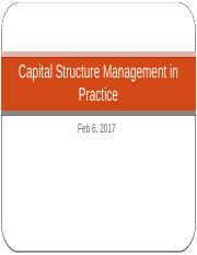 Ch 14 Capital Structure Management in Practice