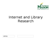 Lecture 1 - Internet and Library Research