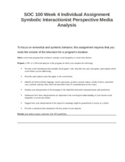 SOC 100 Week 4 Individual Assignment Symbolic Interactionist Perspective Media Analysis