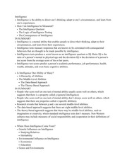 PSY2301 Chapter 10 Intelligence Study Guide