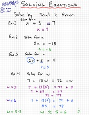 Math 9 Solving by Trial Notes