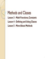 Unit 3 Methods and Classes