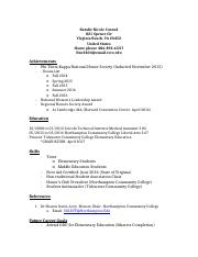Education Award Resume