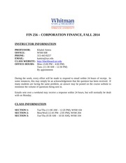 FIN256 - Common Syllabus - General Informationfall2014