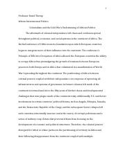 Africa International Politics Paper #2