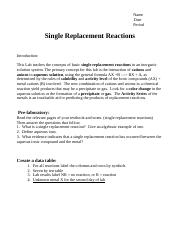 Single Replacement Reaction Predictions