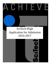 2016_2017- Admissions Application_SciTech High