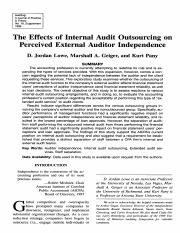 The Effects of Internal Audit Outsourcing on Perceived External Auditor Independence 4