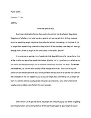 Reflection paper on when the good go bad