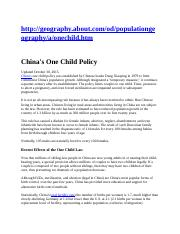 China's One Child Policy.docx