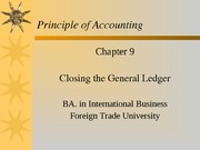 Chapter 9 Closing the General Ledger CLC