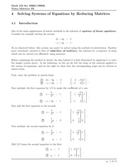 Math 152 Solving Systems of Equations by Reducing Matrices