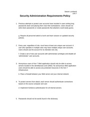 Security Administration Requirements Policy