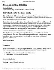Critical Thinking  Intro to the Case Study