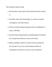 The Scientific Study of Earth Class Notes