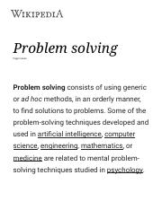 problem solving wikipedia