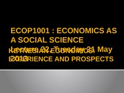 Lecture 22 [Keynesian economics Experience and prospects]