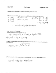 Fall 2001 Final & Solutions